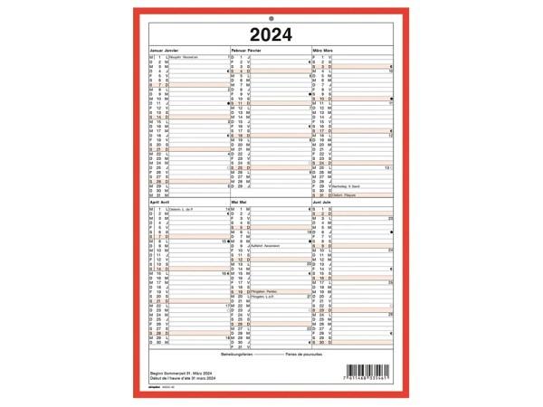 Wandkalender Simplex mit rotem Rand A4