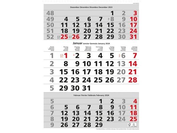 Wandplaner Simplex 3-Monatskalender grau/weiss, 30x39cm