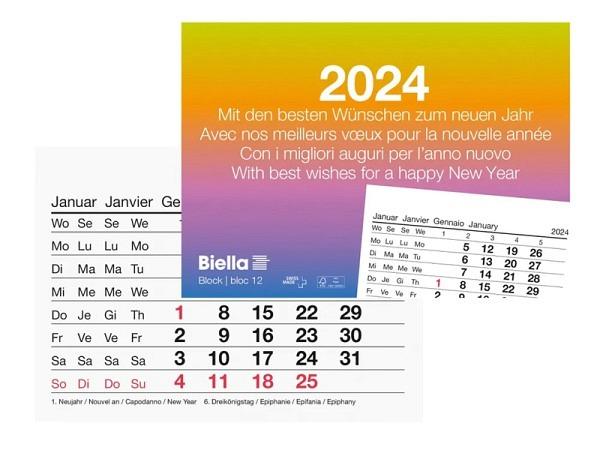 Abreisskalender Biella Block 12 quer, 11x7,7cm, 1Monat auf 1Seite