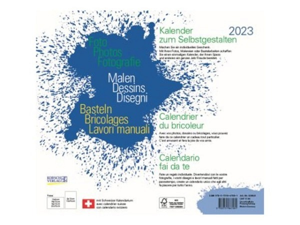 Bastelkalender Korsch Foto, Malen, Basteln weiss 21,5x24cm