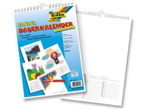 Bastelkalender Folia weiss A4 21x29,7cm immerwährend