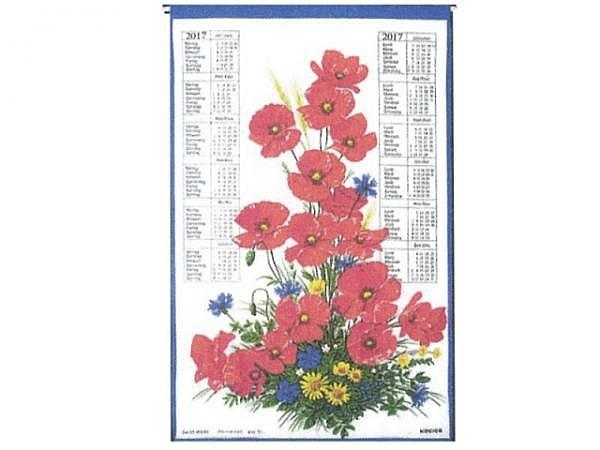 Stoffkalender Mohn/Margarite, 43x68cm, mit Holzstab
