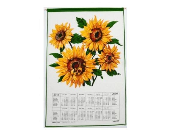 Stoffkalender Sonnenblumen 43x68cm mit Holzstab