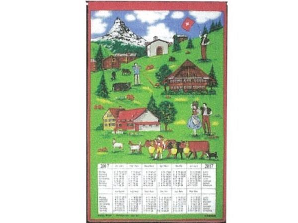 Stoffkalender Folklore 43x68cm Holzstab und Aufhängekordel