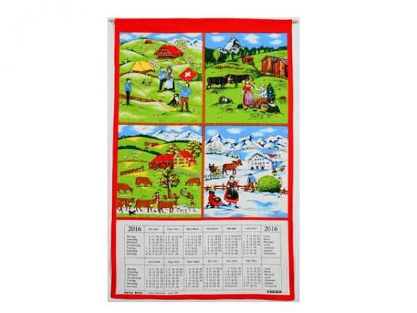 Stoffkalender 4 Jahreszeiten 43x68cm mit Holzstab