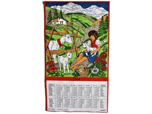 Stoffkalender Heidi mit kleinen Geissen, mit Glocke 43x68cm