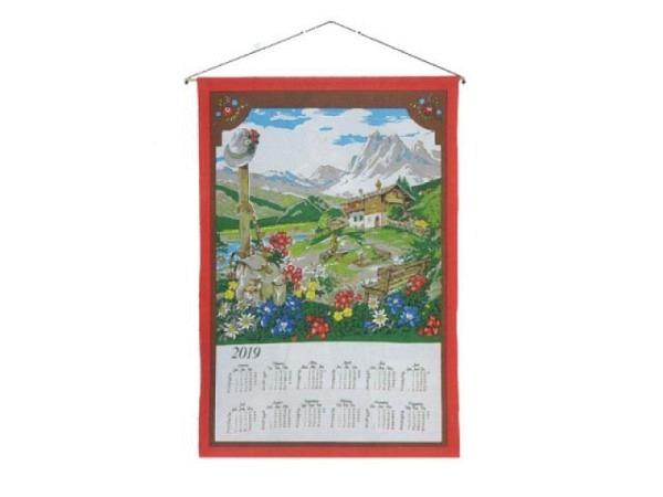 Stoffkalender Almhütte 45x65cm, mit Holzstab