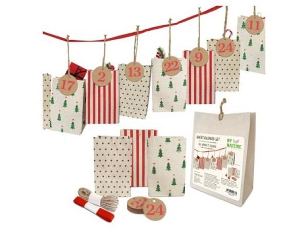 Adventskalender Geschenktüten mit Aufkleber Santa Time