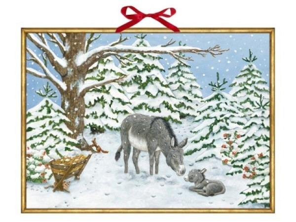 Adventskalender Coppenrath Weihnachtsesel im Wald 52x38cm