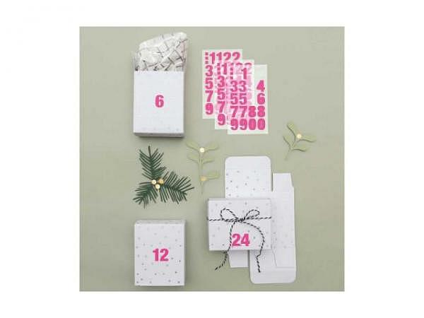 Adventskalender PaperPoetry Schachteln weiss irisierend