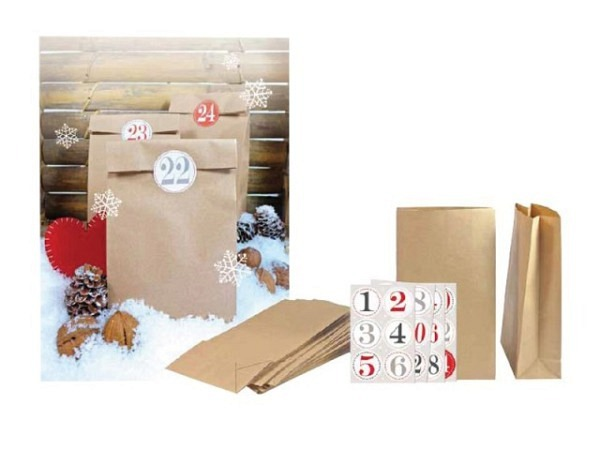 Adventskalender Kraftpapier Do it yourself, 24 Papiertüten