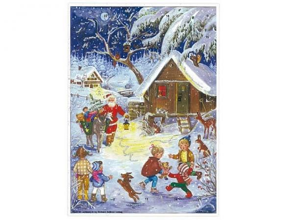 Adventskalender Sellmer, Nr.25 Kinder im Wald mit Nikolaus