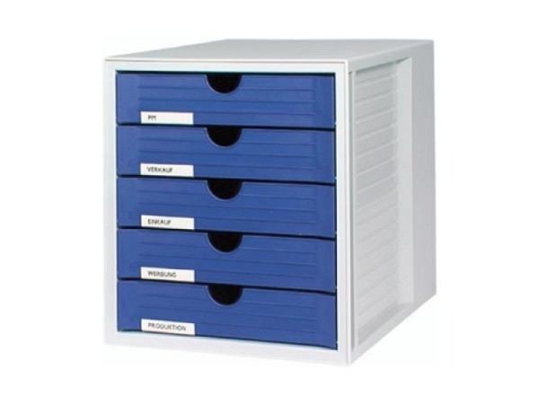 Büroset Biella 5 Schubladen hellgrau, Schublade blau