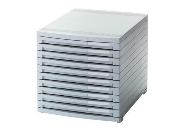 Büroset Han Contur hellgrau mit 10 geschlossenen Schubladen