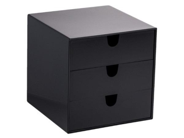 Büroset Palaset schwarz glanz mit 3x4,5cm Schubladen