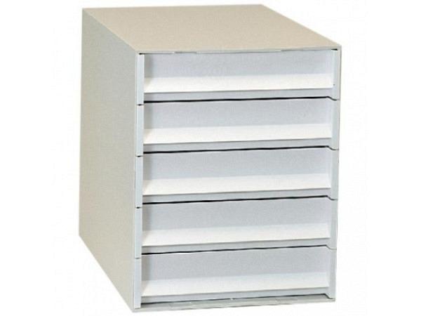 Büroset Ornalon Varion lichtgrau/weiss A4 mit 5 Schubladen