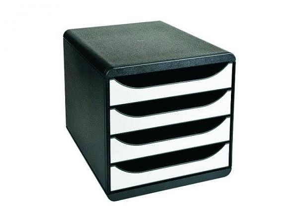 Büroset Exacompta Big-Box schwarz/weiss mit 4 Schubladen