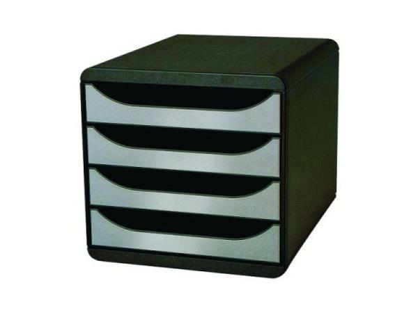 Büroset Exacompta Big-Box schwarz/silbrig mit 4 Schubladen