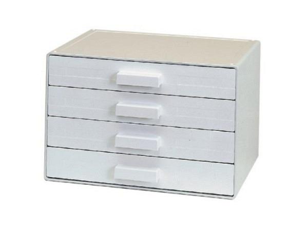Büroset Ornalon weiss-lichtgrau A4 quer mit 4 Schubladen