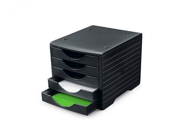 Büroset Styro Greenbox schwarz mit 5 Schubladen