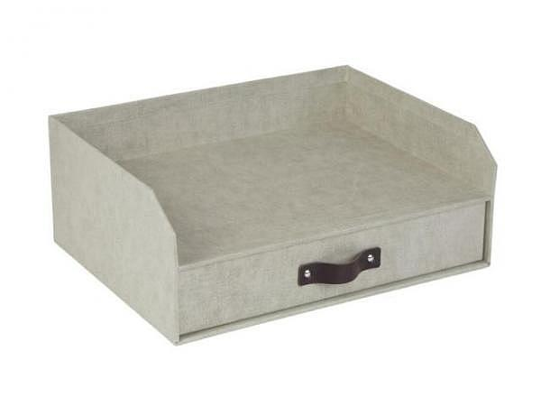 Briefkorb Bigso Box Papierbezug Henry grau, A4 quer