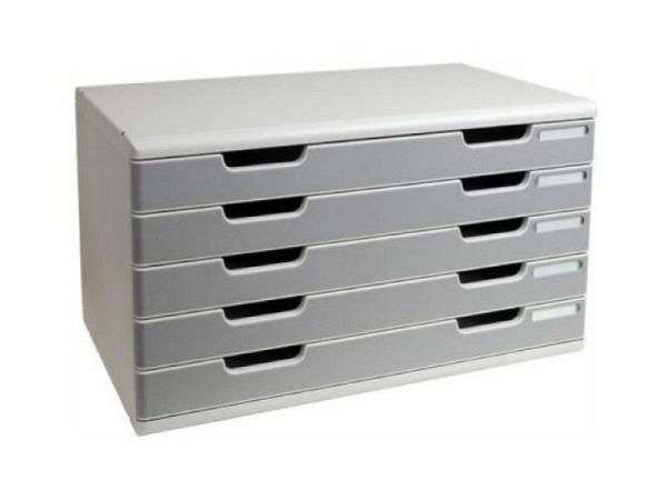 Büroset Exacompta Modulo A3 quer mit 7 Schubladen, lichtgrau