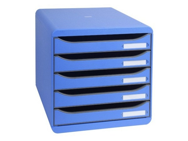 Büroset Exacompta Big-Box Plus eisblau 5 Schubladen A4+