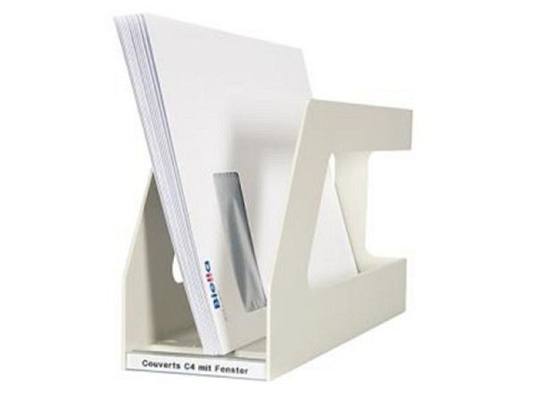 Zeitschriftenbox Biella Classy A4 quer weiss