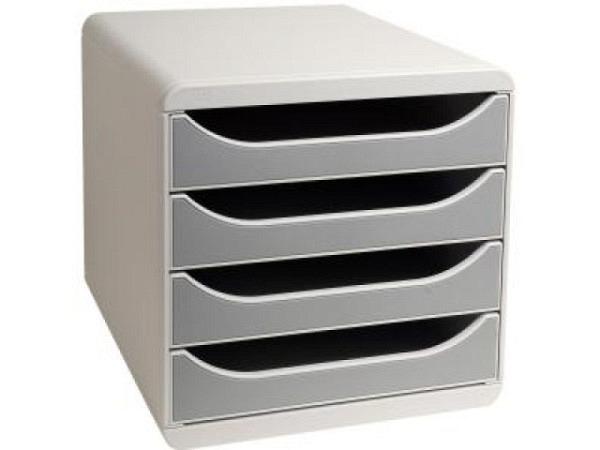 Büroset Exacompta Big-Box grau 4 offene Schubladen für A4+