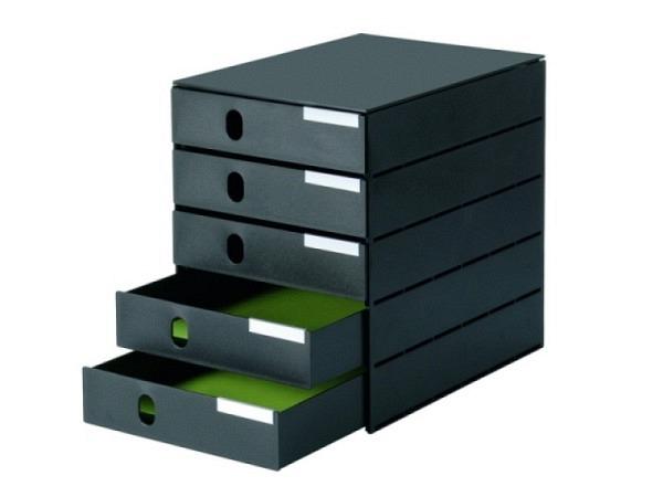 Büroset Styroval 243 Pro schwarz/schwarz, 5 Schubladen