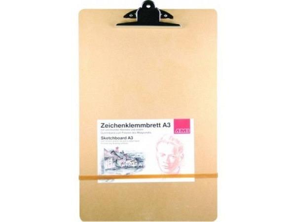 Klemmplatte AMI Zeichenklemmbrett A3 aus brauner Hartfaserp.