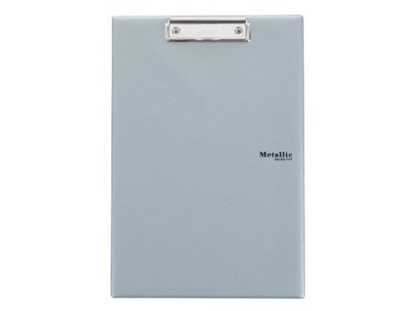 Klemmplatte Bigso Box Papierbezug Adam grau A5, mit Papierbezug mit Leinwandstruktur. Mit breiter Kl
