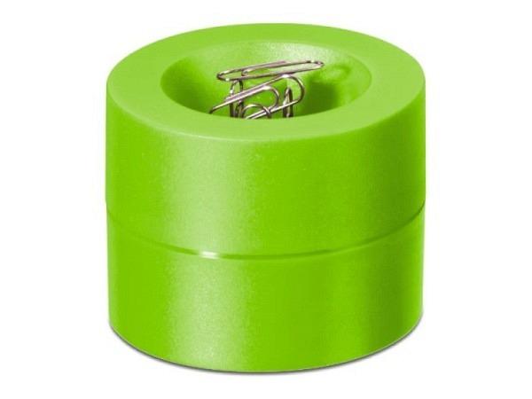 Büroklammernspender Maulpro rund hellgrün, mit Zentralmagnet