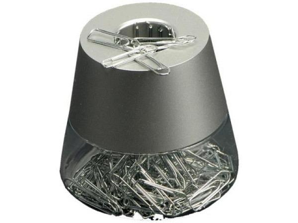 Büroklammernspender Arlac ClipCaddy gefüllt silber konisch