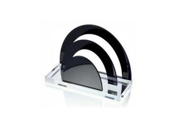 Briefständer Wedo aus glasklarem Acryl kombiniert Schwarz
