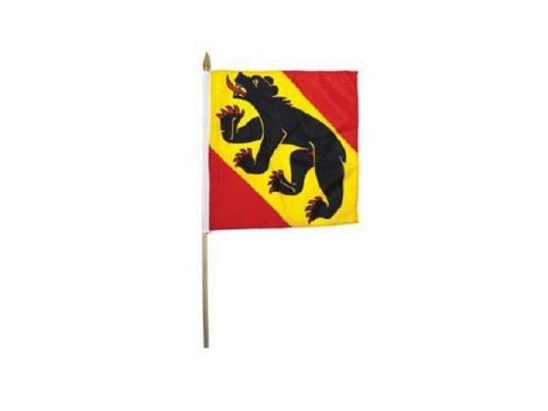 Fahne Bern 30x30cm, befestigt an einem Stab