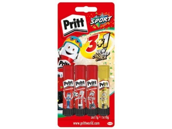 Leim Pritt Klebestift Stick 4er Set, 3x11gsowie 1x10g Glow in the dark