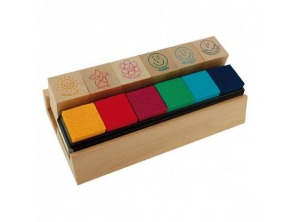 Stempel Trendhaus Lehrerstempel aus Holz mit 6 farb. Stempelkissen