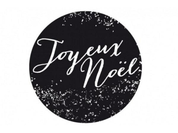 Stempel PaperPoetry Joyeux Noel, Holzstempel rund mit Durchmesser 35mm