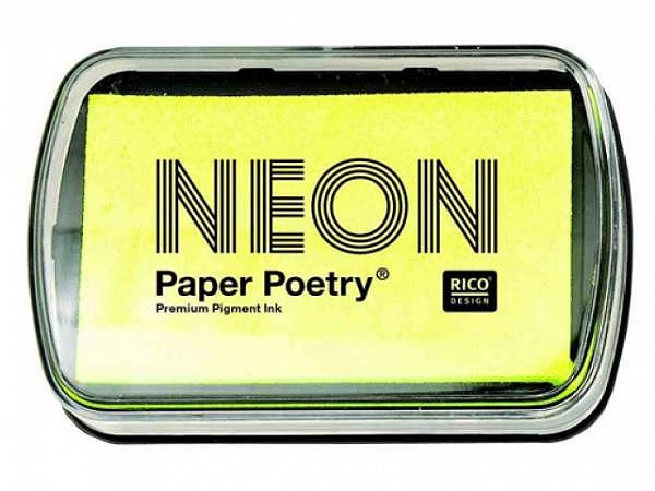 Stempelkissen PaperPoetry 6x9cm neongelb, Pigmentstempelkissen für Papier