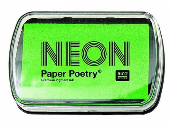 Stempelkissen PaperPoetry 6x9cm neongrün, Pigmentstempelkissen für Papier