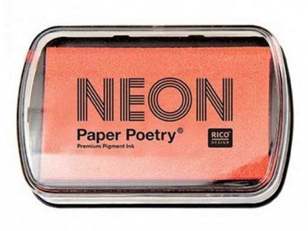 Stempelkissen PaperPoetry 6x9cm neonrot, Pigmentstempelkissen für Papier