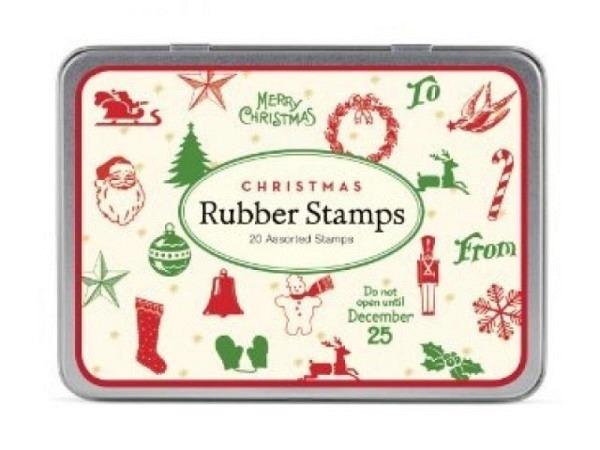 Stempel Cavallini Christmas Mini Rubber Stamps, im Retrostil