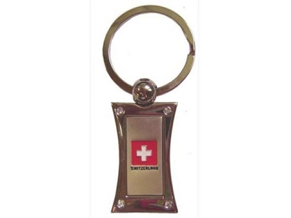 Schlüsselanhänger Swiss Cross silber eckig mit Strasssteinen