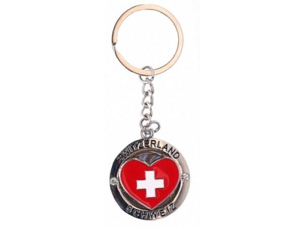 Schlüsselanhänger Switzerland Cross Herz rot