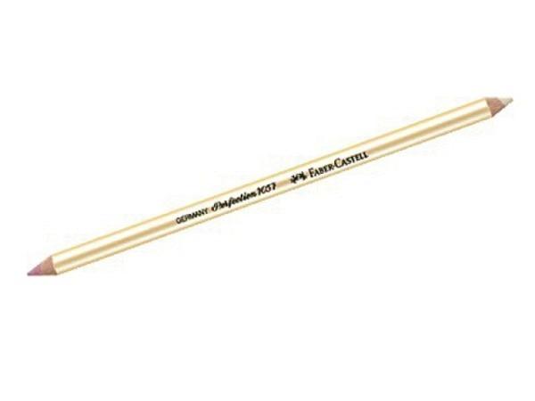 Radierstift Faber-Castell Perfection 7057 doppelseitig, für Blei-/Farbstifte (rot), Tinte und Schreibmaschine (weiss)