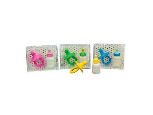 Radiergummi Baby Basics, Nuggi und Schoppen in 4 ass. Farben
