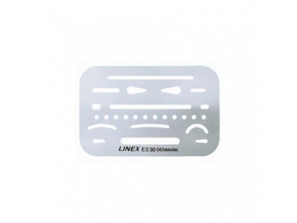 Radierschablone Linex ES30, ca. 9x6cm, aus Metall