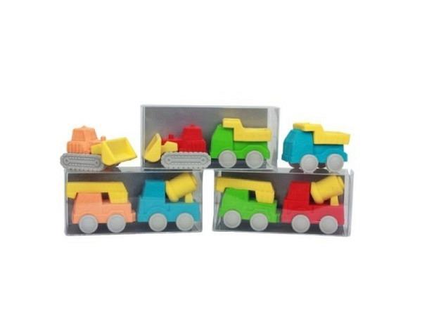 Radiergummi Baufahrzeuge 2er Set, 4fach farbig sortiert, enthält 1x Bagger und 1x Lastwagen, verpack