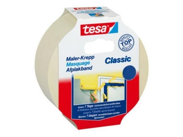 Abdeckband Tesa Classic 19mmx50m Malerkrepp für gerade, saubere Farbkanten, rückstandsfrei entfernbar, für glatte Untergründe im Innenbereich, 5281
